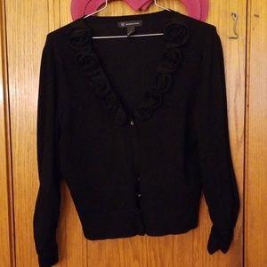 Black rose embelished sweater